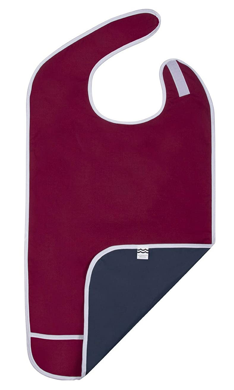 Adult Bibs for Eating, Waterproof Clothing Protector with Crumb Catcher. Machine Washable (red-Wide)