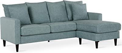 FlexLiving Reversible Sectional Sofa with Pillows, Teal