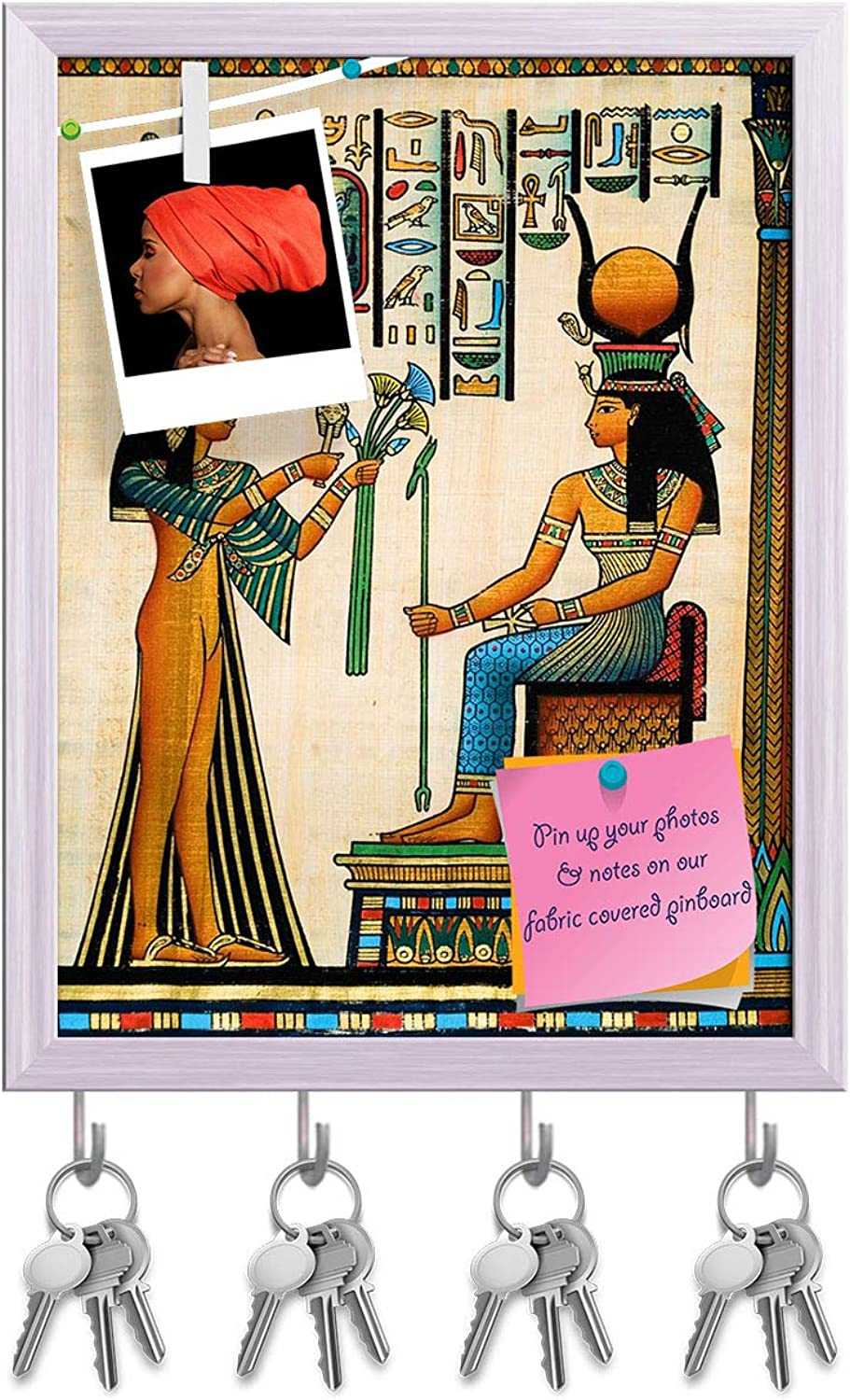 Artzfolio Egyptian Queen Nefertari Making an Offering to Isis D2 Key Holder Hooks   Notice Pin Board   White Frame 6 X 7.7Inch