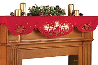 Collections Etc Lighted Christmas Candles Mantel Scarf Decor