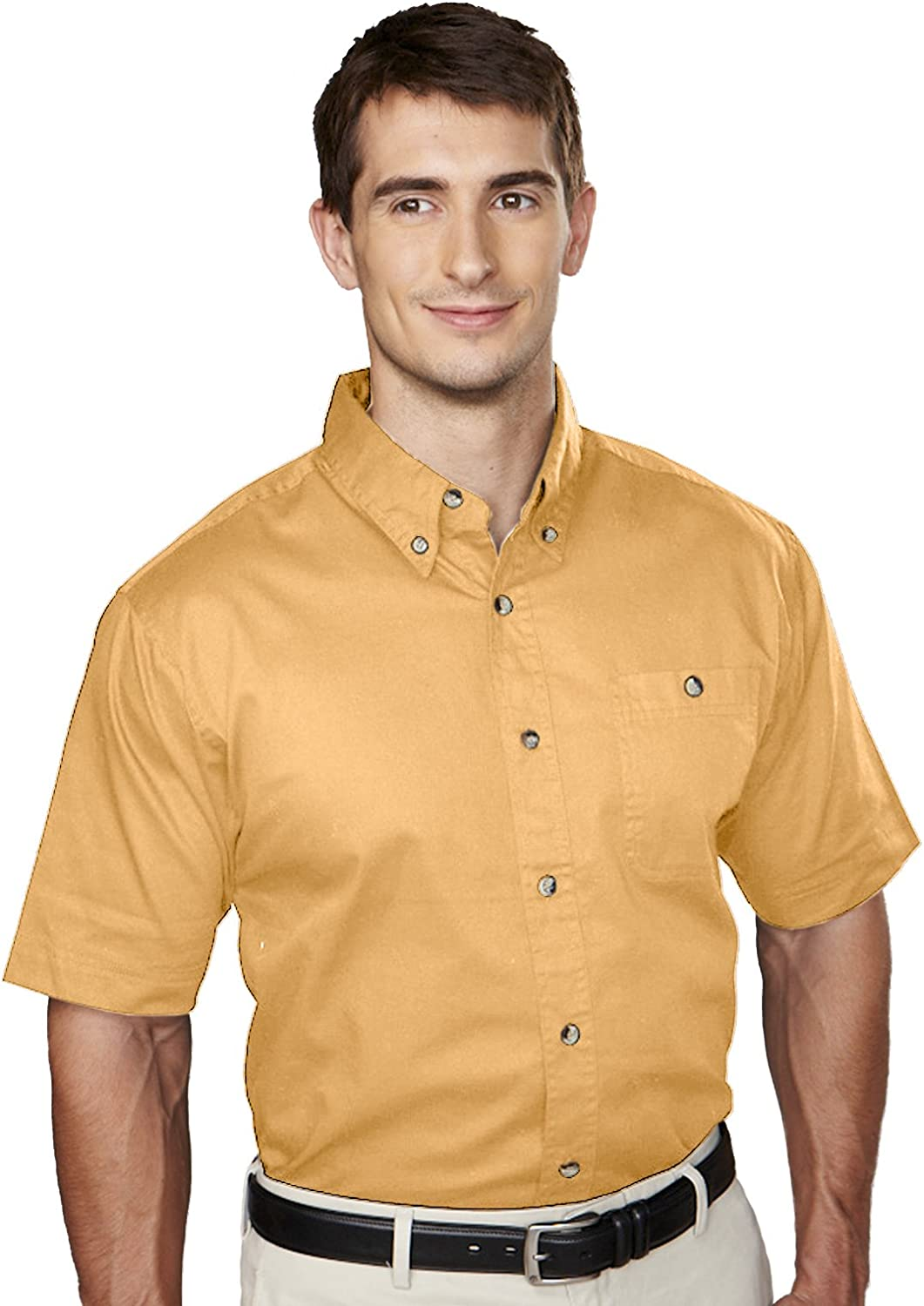 Big and Tall Short Sleeved 100% Cotton Twill Shirt in Maize up to 6XT Tall
