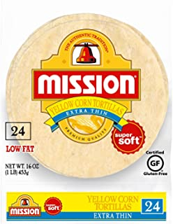 Mission Extra Thin Yellow Corn Tortillas | Gluten Free, Trans Fat Free | Small Soft Taco Size | 24 Count