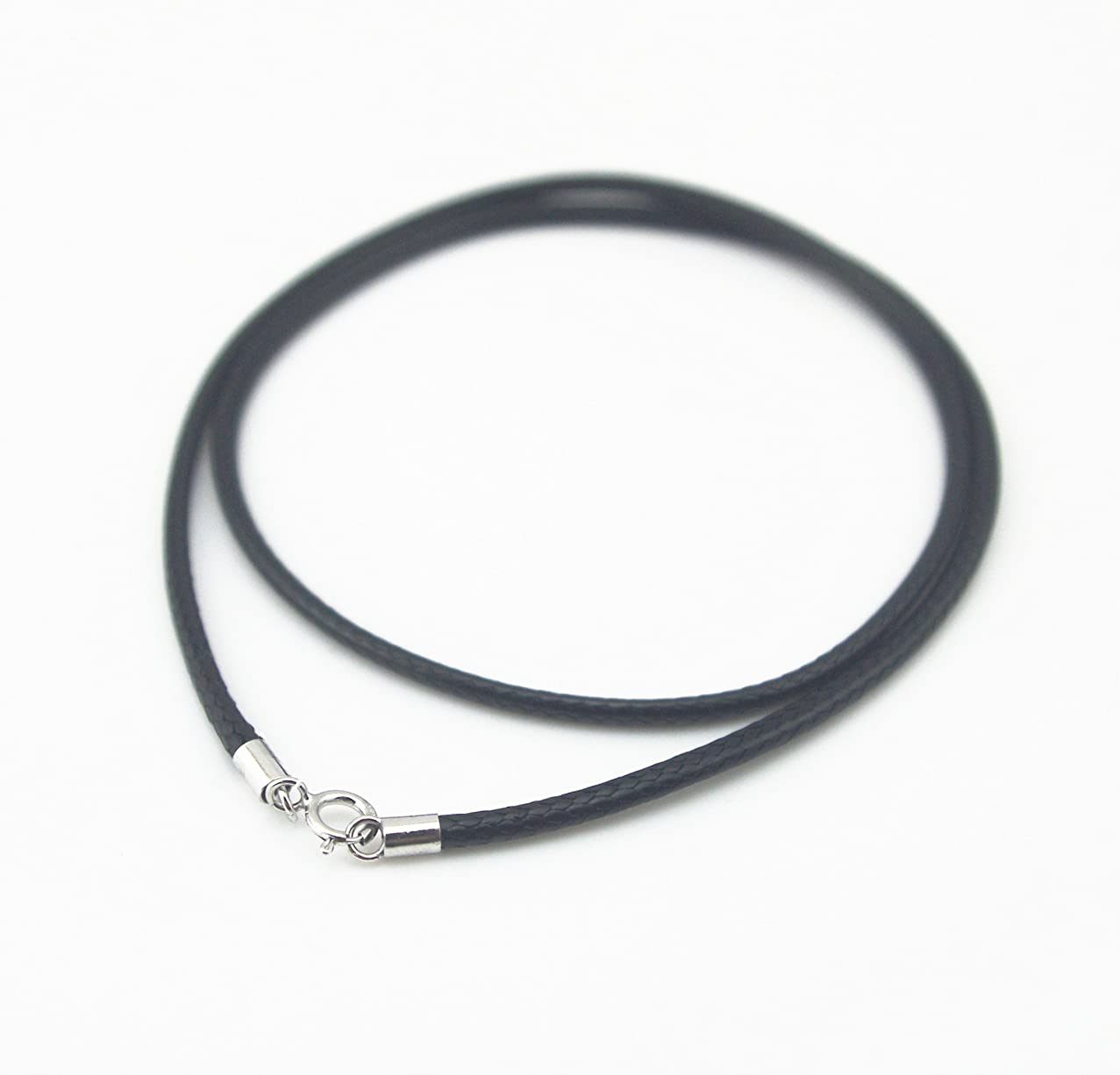 Glory Qin Black Silk Braided Rope Chain 925 Silver Plated Clasp Leather Cord Chain Necklace Rope (1.0 mm, 16 Inches)