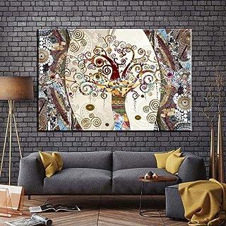 YIYEBAOFU DIY Pintar por números Famosos Cuadros, pósters e Impresiones sobre Lienzo de Pintura El árbol de la Vida de Gustav Klimt para la decoración de la Sala de estar40x50cm(Sin Marco)