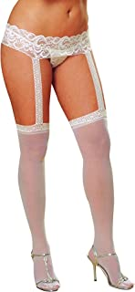 Dreamgirl Women's Plus-Size Sheer Garter Belt and Stockings Set