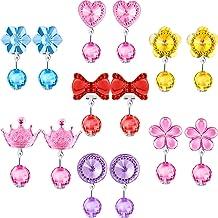 7 Pares de Pendientes de Cristal de Clip Pendientes de Niña Bisutería de Princesa y 7 Pares de Almohadillas de Pendientes en Caja Rosa (Estilo 3)