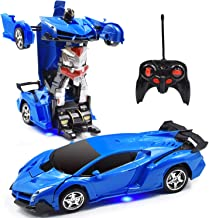 Jeestam RC Car for Kids, 1:18 Transform Car Robot, 2.4GHz Rechargeable One Button Transformation 360°Rotating Drifting Realistic Engine Sounds Remote Control Toy Car Gift for Kids and Adults (Blue)