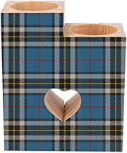 Romantic Wooden Heart Shaped Couple Candle Holders, Blue and White Classic Plaid Candle Holder Heart Pedestal for Valentin...
