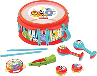 Fisher-Price – Rainforest Musical Band Drum Set, 9-Piece Drum Set, Musical Instrument, Musical Toy, Toddlers, Ages 3+