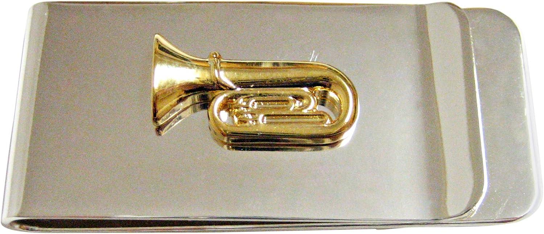 Gold Toned Tuba Music Instrument Money Clip