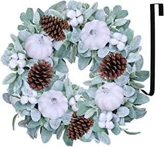 Artificial Lamb's Ear Wreath with White Pumpkins Pinecones Cotton Bolls Fall Front Door Wreath Grapevine Wreath for Fall Wedding Thanksgiving Seasonal Farmhouse Decoration 20