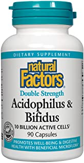 Natural Factors, Acidophilus & Bifidus Double Strength, Probiotic and Prebiotic Formula, 90 Capsules