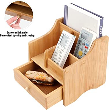WNSC Desk Storage, Modern Box with Drawer 2 Tier Storage Box, Multifunction Remote Control for Toiletries Office Supplies Cra