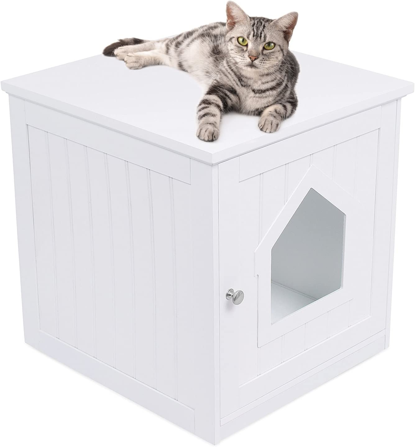 Amazon Com Birdrock Home Decorative Cat House Side Table Cat Home Nightstand Indoor Pet Crate Litter Box Enclosure Hooded Hidden Pet Box Cats Furniture Cabinet Kitty Washroom White Pet Supplies