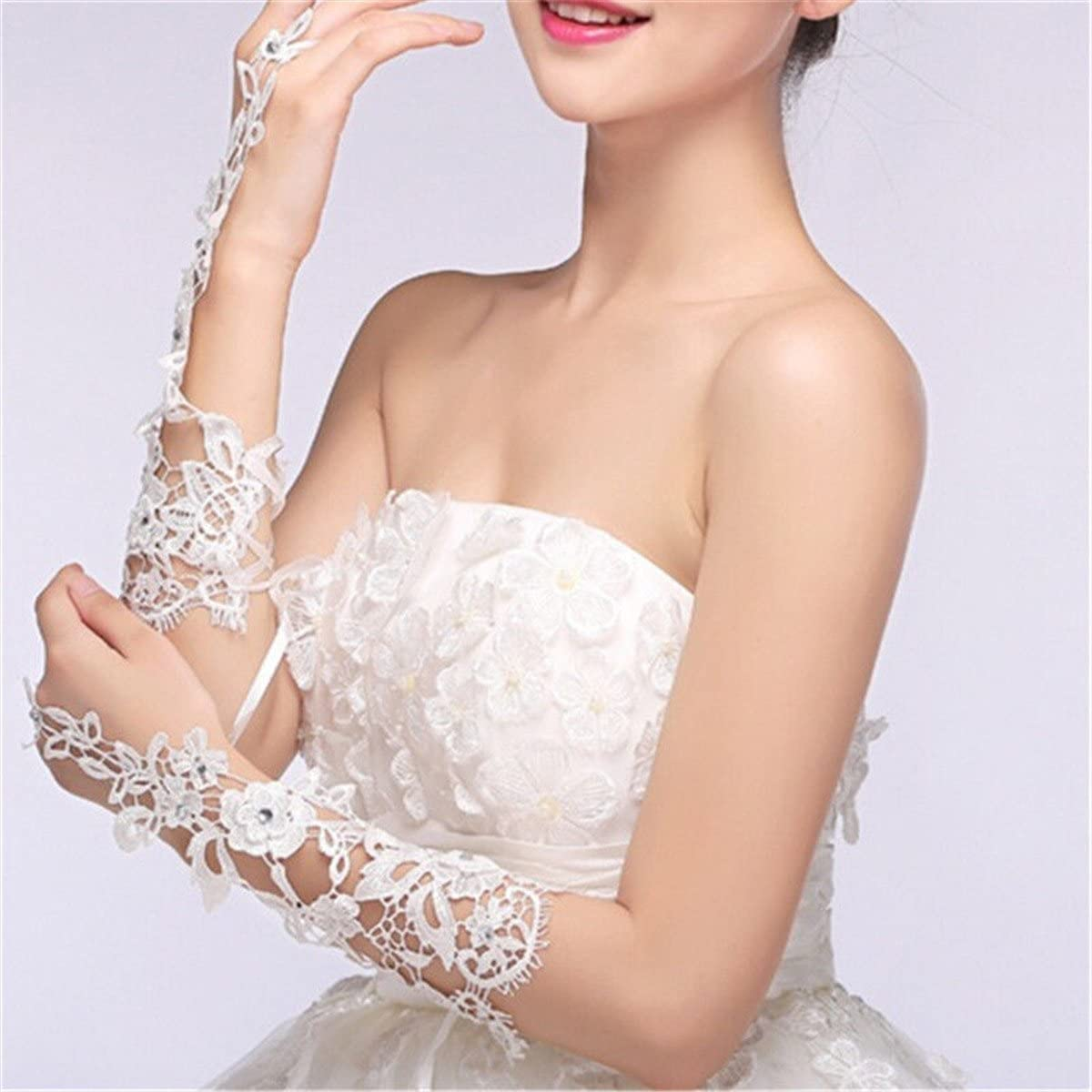 Bridal Lace Gloves Rhinestone Embellished Wrist Gloves for Wedding