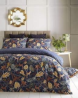 Furn Monkey Forest Duvet Cover Set-PolyCotton-Midnight Blue-King Size, Cotton
