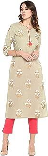 Janasya Women's Light Green Cotton Kurta With Pant