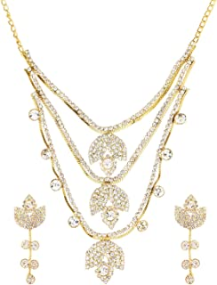 Efulgenz - Set di gioielli con collana e orecchini a girocollo in cristallo austriaco, con strass e diamanti austriaci