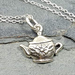 Tea Pot Charm Necklace - 925 Sterling Silver, 18