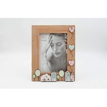 Mascagni Portafoto in legno Bambina Bambino Palloncini Citta Colorato Noce 13x18