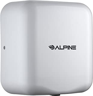 Alpine Industries 400-10-WHI Alpine Hemlock Automatic Hand Dryer - Heavy Duty Stainless Steel - Commercial High Speed Hot Air Hand Blower   1800Watts   110-120Volts   Quick & Easy Installation, White