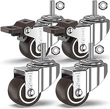 GBL® 4 Zwenkwielen 25mm Bout M8x20mm TPR Rubber | Zwaarlastwielen 40KG - Meubelzwenkwielen Voor Meubels | Zwenkwieltjes vo...