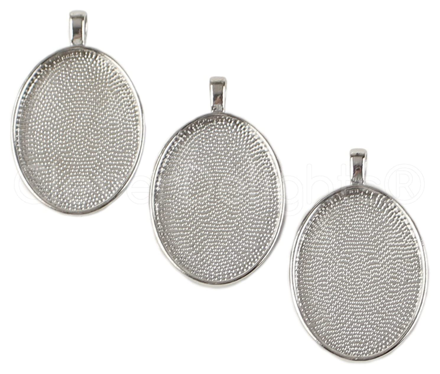 CleverDelights 20 Pack Oval Pendant Trays - Platinum Silver Color - 22x30mm - Pendant Blanks Cameo Bezel Settings - Custom Jewelry Making 22mm x 30mm