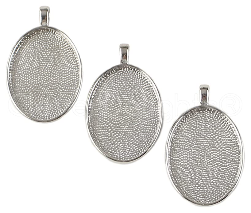 CleverDelights 10 Pack Oval Pendant Trays - Platinum Color - 22 x 30 mm - Pendant Blanks Cameo Bezel Settings - Custom Jewelry Making 22x30mm