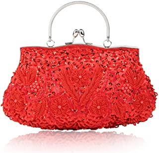 Fine Bag/Women's Vintage Clutch Bag Night Tote Bag Large Capacity Beaded Sequins Flower Party Bag Banquet Bag (Color : Red, Size : One Size)