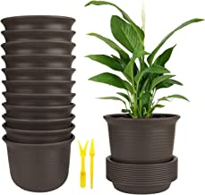 Plastic Flower Pots, Brajttt 12 Sets Pots with Drainage Hole, Planters with Saucers for Modern Indoor Plants, Orchid, Herbs, Succulents, Cactus, and Seeding Nursery (Brown)
