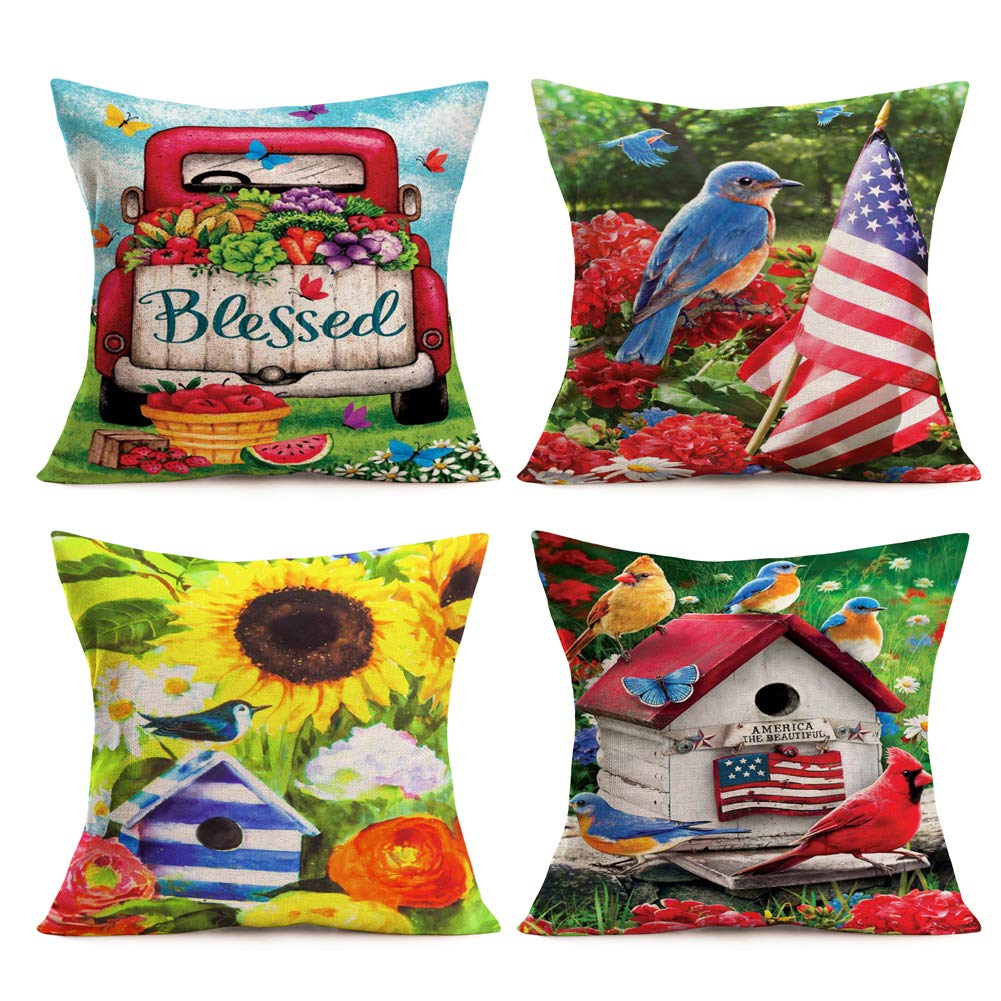 """Set of 4 American Flag Pillow Covers Cushion Cover for Sofa 18/"""" x 18/"""" Set of 4"""