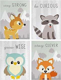 Posters décoratifs pour Chambre D'enfant–Affiche Animaux Chambre Bébé Murale –Déco pour Fille Garçon Chambre –Citation Ins...