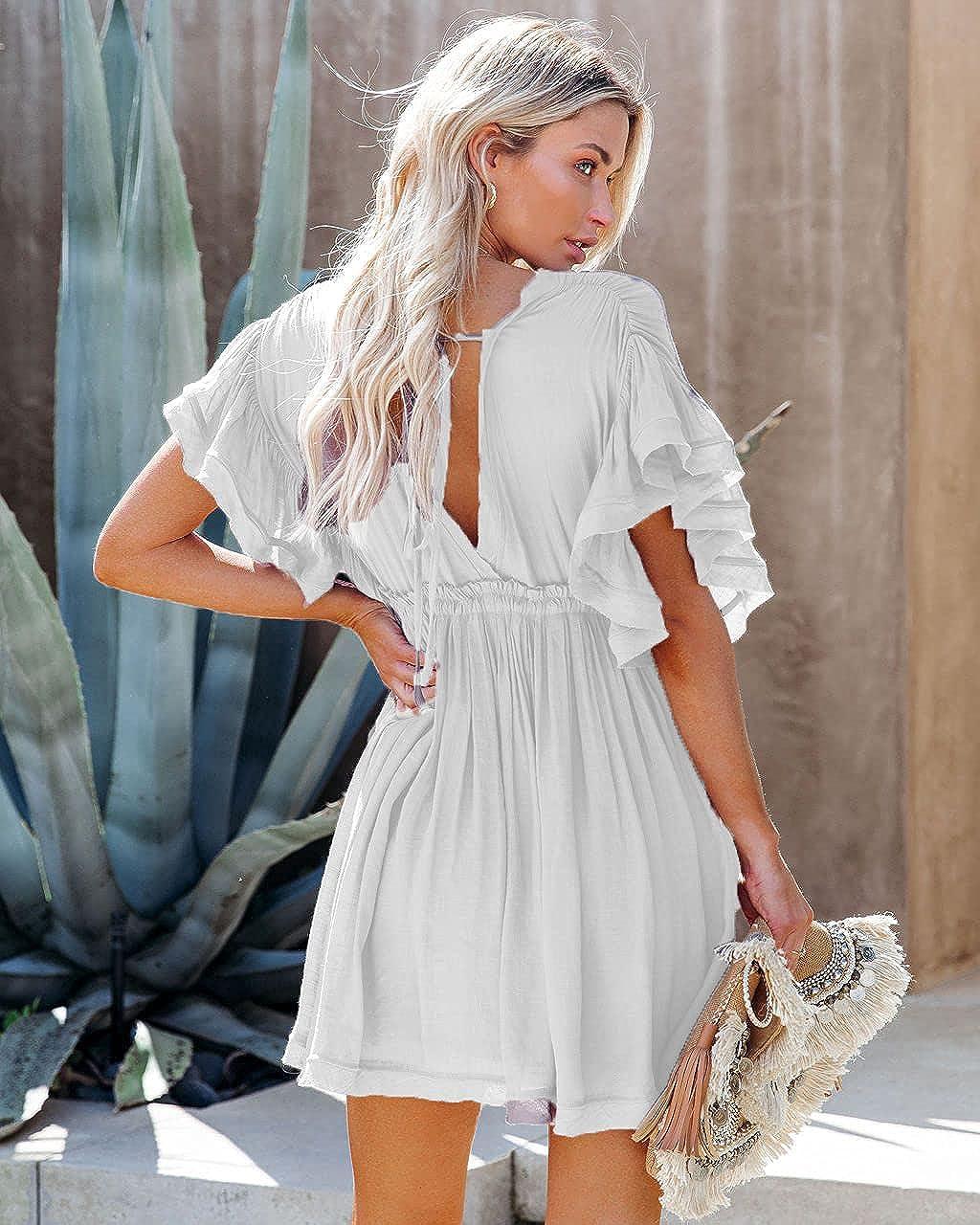 Ebifin Women'sShort Sleeve Ruffle V Neck Summer Dress Button Down Dress