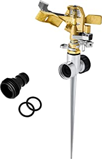 Morvat Brass Impact Lawn Sprinkler for Yard, Garden Sprinkler Head, All Brass with Metal Stake, Includes 2 Rubber Ring Connectors and Male Quick Connector, 360° Pattern, 40-49 Foot Spray Distance