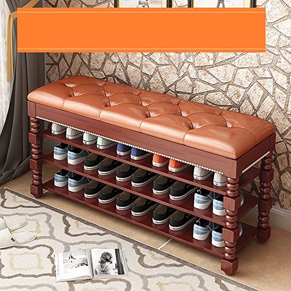 Entrance Door Change Shoe Bench 3 Layer Shoe Rack Shoe Stool Storage Stool Frame Sofa Stool Shoe Cabinet Test Shoe Bench Wearing A Shoe Bench Solid Wood Color B Size 100 35 58CM
