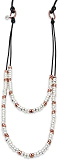 Lizzy James Saffron Layered 2 Strand Leather Necklace with Gold and Silver Beads in Natural Mocha Leather