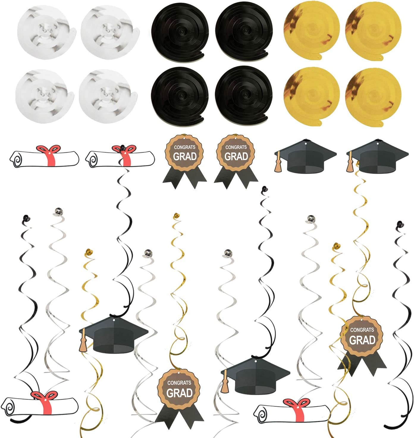 ZERODECO Graduation Decorations Black and Gold We Are So Proud Of You Banner Paper Pompom Fan Hanging Swirls Graduation Confetti Paper Garland Party Balloons for Grad Party Decoration Supplies