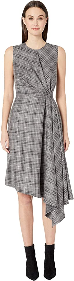 Loro Piana Plaid Sleeveless Crew Neck Dress w/ Side Drape