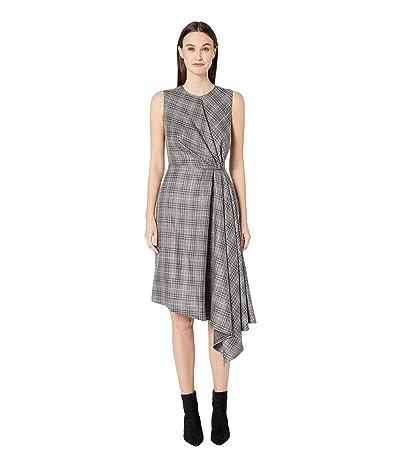 Adam Lippes Loro Piana Plaid Sleeveless Crew Neck Dress w/ Side Drape (Grey Multi) Women