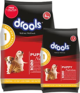 Drools Chicken and Egg Puppy Dry Dog Food, 3 kg with Free 1.2 kg