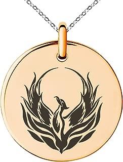 Stainless Steel Greek Mythology Phoenix Symbol Small Medallion Circle Charm Pendant Necklace