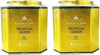 Harney & Son's Tropical Green Tea Tin 30 Sachets (2.67 oz ea, Two Pack) - Green Tea Blend with Exotic Flavors of Pineapple - 2 Pack 30ct Sachet Tins (60 Sachets)