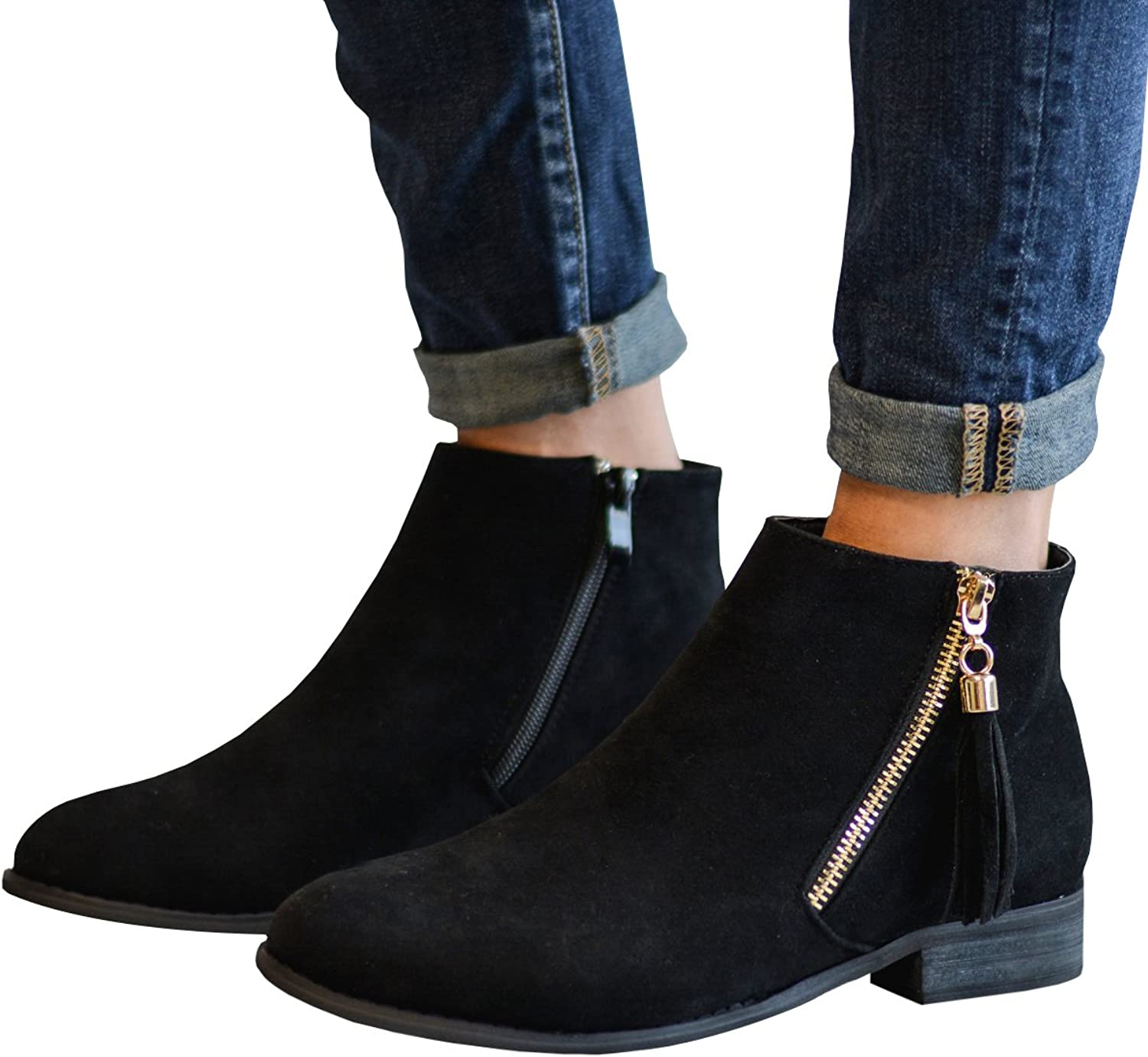 Womens Ankle Booties Chunky Leather Stacked Low Side Zipper Round Toe Boots shoes