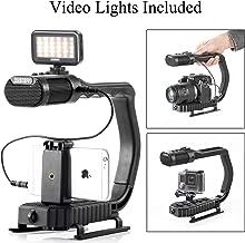 Handheld Stabilizer & Video Led Lights Skateboarding, Sevenoak Handle Grip & Built-in Stereo Mic for DJI OSMO iPhone 8 8 Plus 7 6 6s Smartphone GoPro Canon Nikon Sony Alpha RX0 DSLR Camera Camcorder