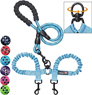 tobeDRI Comfortable Dual Dog Leash Tangle Free with Shock Absorbing Bungee Reflective 2 Dog Leashes for Large Medium Small Dogs