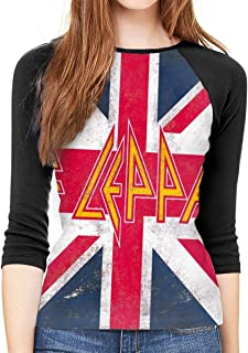 Def Leppard Union Jack Women Baseball T Shirts 3/4 Sleeve Raglan Jerseys Tee