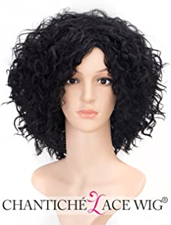 Chantiche Cheap Black Wig Synthetic, Short Curly Wig for Women Heat Resistant Synthetic Wigs #1B (GL-0504)