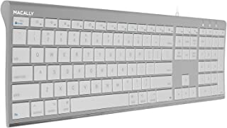 Macally Ultra-Slim USB Wired Computer Keyboard for Apple MacBook Pro/Air, iMac, Mac Mini, Mac Pro, Windows PC Laptops/Desk...