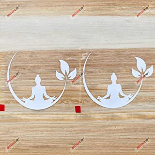 3S MOTORLINE (2) 4'' White Yoga Meditation Decal Sticker Car Vinyl Buddhism Zen Buddha Lotus India sda1