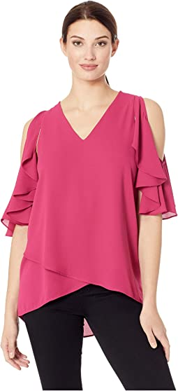 Ruffle Sleeve Crossover Top